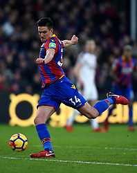 """Crystal Palace's Martin Kelly during the Premier League match at Selhurst Park, London. PRESS ASSOCIATION Photo. Picture date: Saturday January 13, 2018. See PA story SOCCER Palace. Photo credit should read: Daniel Hambury/PA Wire. RESTRICTIONS: EDITORIAL USE ONLY No use with unauthorised audio, video, data, fixture lists, club/league logos or """"live"""" services. Online in-match use limited to 75 images, no video emulation. No use in betting, games or single club/league/player publications"""