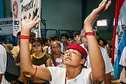 09 SEPTEMBER 2003 - CANCUN, QUINTANA ROO, MEXICO:  Mexican indigenous people lead a prayer before a protest at the WTO talks in Cancun. Tens of thousands of protesters, mostly farmers, came to Cancun for the fifth ministerial of the World Trade Organization (WTO). They were protesting against developed nations pushing to get access to agricultural markets in developing nations. The talks ultimately collapsed after no progress with no agreements reached between the participants.      PHOTO BY JACK KURTZ