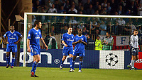 Photo: Scott Heavey, Digitalsport<br /> NORWAY ONLY.<br /> Monaco v Chelsea.  Champions League Semi Final, first leg. 20/04/2004.<br /> A dejected Chelsea team after going 2-1 down