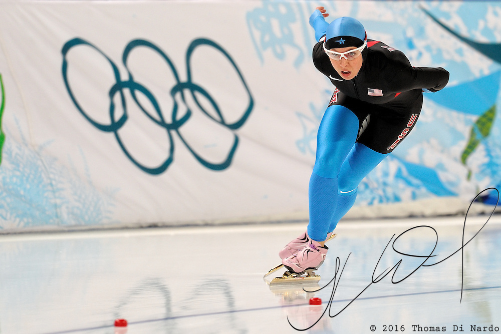 February 14, 2009 - 2010 Winter Olympics - Speedskating - Women's 3000m - Jilleane Rookard competes in the 3000m distance at the Richmond Olympic Oval.