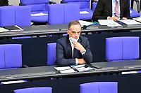 DEU, Deutschland, Germany, Berlin, 25.08.2021: Bundesaussenminister Heiko Maas (SPD) während der Debatte zum Bundeswehreinsatz zur Evakuierung aus Afghanistan in der Plenarsitzung im Deutschen Bundestag.