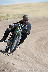 Billy Lane on a 1919 Harley-Davidson on his warm up lap on the banked dirt oval at the Full Throttle Saloon before his Sons of Speed race during the annual Sturgis Black Hills Motorcycle Rally. Sturgis, SD. USA. Thursday August 10, 2017. Photography ©2017 Michael Lichter.