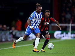 Brighton and Hove Albion Gaetan Bong (left) and AFC Bournemouth Jordon Ibe in action during the Carabao Cup, third round match at the Vitality Stadium, Bournemouth.