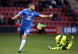Conor Washington of Peterborough United celebrates scoring his goal to make it 2-0 - Mandatory byline: Joe Dent/JMP - 07966 386802 - 21/11/2015 - FOOTBALL - Alexandra Stadium - Crewe, England - Crewe Alexandra v Peterborough United - Sky Bet League One