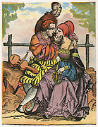 The Two Lovers.   On the bank beside the man is an instgrument of the viol family. 16th century woodcut.