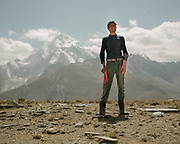 Man wearing working gloves. In the high pastures. The traditional life of the Wakhi people, in the Wakhan corridor, amongst the Pamir mountains.