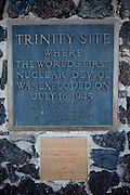 "Site Trinity, ground zero, on the White Sands Missile Range in S. New Mexico. Site of the world's first atomic explosion on July 16, 1945. The atomic bomb was developed by the Manhatten Project. The Manhattan Project refers to the effort during World War II by the United States, in collaboration with the United Kingdom, Canada, and other European physicists, to develop the first nuclear weapons. Formally designated as the Manhattan Engineering District (MED), it refers specifically to the period of the project from 1942-1946 under the control of the U.S. Army Corps of Engineers, under the administration of General Leslie R. Groves, with its scientific research directed by the American physicist J. Robert Oppenheimer. The project succeeded in developing and detonating three nuclear weapons in 1945: a test detonation on July 16 (the Trinity test) near Alamogordo, New Mexico; an enriched uranium bomb code-named ""Little Boy"" detonated on August 6 over Hiroshima, Japan; and a plutonium bomb code-named ""Fat Man"" on August 9 over Nagasaki, Japan. (http://en.wikipedia.org/wiki/Manhattan_Project)"