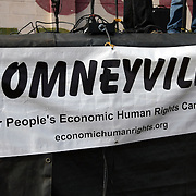 A sign for Romneyville hangs on stage during the Republican National Convention in Tampa, Fla. on Wednesday, August 29, 2012. (AP Photo/Alex Menendez)