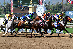 March 30, 2018 - Arcadia, California, USA - Horse Racing -  Horses crosing the finish line during the 6th race at Santa Anita Race Track, Arcadia, California, USA, March 29, 2018..Credit Image  cr  Scott Mitchell/ZUMA Press (Credit Image: © Scott Mitchell via ZUMA Wire)