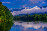 Phewa Lake in Pokhara, Western Region, Nepal with 26,795 foot Dhaulagiri, in the Annapurna Range of the Himalayas, peering out above.
