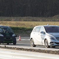 Self-driving car testing already goes on as road constructions are still in progress during a press visit at the Zone test track aimed to support development of autonomous self-driving vehicles in Zalaegerszeg (about 220 kilometres South-West of capital city Budapest), Hungary on Nov. 12, 2018. ATTILA VOLGYI