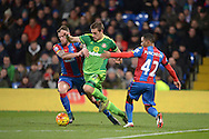 Sebastian Coates of Sunderland breaks past Connor Wickham of Crystal Palace and Jason Puncheon of Crystal Palace. Barclays Premier league match, Crystal Palace v Sunderland at Selhurst Park in London on Monday 23rd November 2015.<br /> pic by John Patrick Fletcher, Andrew Orchard sports photography.