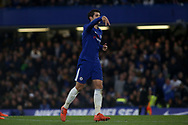 """Alvaro Morata of Chelsea does his signature """"A"""" celebration using his two fingers after he scores his teams 1st goal.  Premier league match, Chelsea v Manchester United at Stamford Bridge in London on Sunday 5th November 2017.<br /> pic by Kieran Clarke, Andrew Orchard sports photography."""