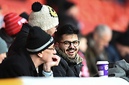 Forest supporter enjoying the pre-match warm-up during the The FA Cup 3rd round match between Nottingham Forest and Arsenal at the City Ground, Nottingham, England on 7 January 2018. Photo by Jon Hobley.