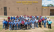 HISD CFS workers pose for a photograph outside Forest Brook Middle School, July 10, 2013.