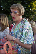 GRAYSON PERRY, 2014 Serpentine's summer party sponsored by Brioni.with a pavilion designed this year by Chilean architect Smiljan Radic  Kensington Gdns. London. 1July 2014