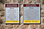 Sign at the entrance to the Great Wall, Ston, Dalmatian Coast, Croatia