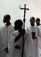 JON M. FLETCHER / The Times-Union -- 021710 -- Local catholics led a procession through the Hospital Sacre Coeur in Milot, Haiti, for an Ash Wednesday service, February 17, 2010.  (Jon M. Fletcher, The Florida Times-Union)