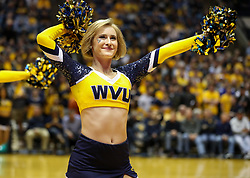 Feb 26, 2018; Morgantown, WV, USA; A West Virginia Mountaineers dance team member performs during the second half against the Texas Tech Red Raiders at WVU Coliseum. Mandatory Credit: Ben Queen-USA TODAY Sports