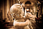 Stock / Scupture of a boy wrestling a bird in the Louvre.
