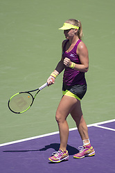 March 25, 2018 - Miami, FL, United States - KEY BISCAYNE, FL - March, 25: Kiki Bertens (NED) celebrating here,  plays Venus Williams (USA) at the 2018 Miami Open held at the Tennis Center at Crandon Park.   Credit: Andrew Patron/Zuma Wire (Credit Image: © Andrew Patron via ZUMA Wire)