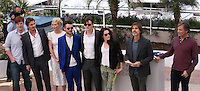 Danny Morgan,  Garret Hedlund, Kirsten Dunst, Tom Sturridge, Sam Riley,  Kristen Stewart, Walter Salles, Viggo Mortensen, at the On The Road photocall at the 65th Cannes Film Festival France. The film is based on the book of the same name by beat writer Jack Kerouak and directed by Walter Salles. Wednesday 23rd May 2012 in Cannes Film Festival, France.