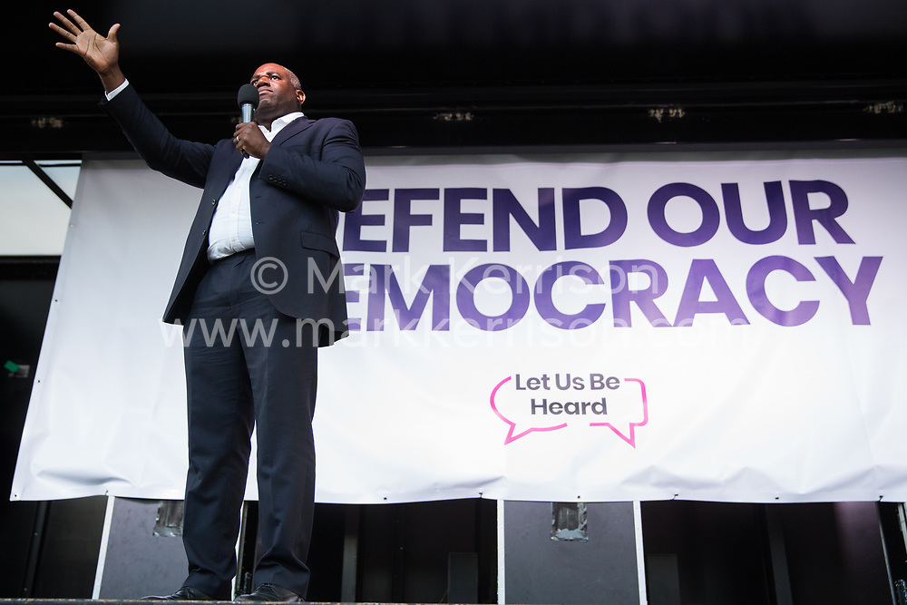 London, UK. 4 September, 2019. David Lammy, Labour MP for Tottenham, addresses Remain supporters at a Defend Our Democracy rally in Parliament Square shortly after MPs passed the Brexit delay bill in the House of Commons.