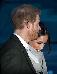 © Licensed to London News Pictures. 09/01/2018. London, UK. Prince Harry and Meghan Markle visit Reprezent 107.3FM radio station in Pop Brixton. They will see the broadcaster's work supporting young people through creative training and will learn about using music, radio and media for social impact. Photo credit : Tom Nicholson/LNP