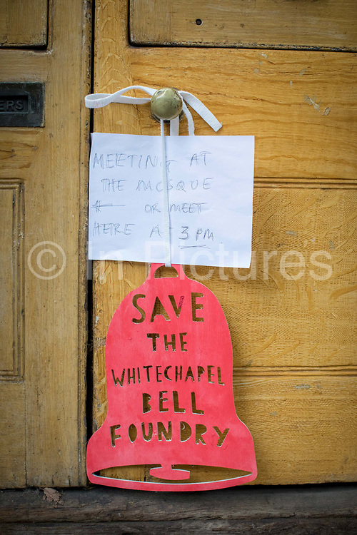 Protest to campaign against London Borough of Tower Hamlets planning decision to develop the Whitechapel Bell Foundry into a boutique hotel on the 9th November 2019 in East London in the United Kingdom. Whitechapel Bell Foundry closed in June 2017, having cast bells in the East End for almost 450 years. Campaigning with East End Preservation Society, directly petitioning Tower Hamlets Council to preserve the foundry on the grounds of its great historical importance. Operating in Whitechapel from the 1570s — and from its current location since the mid 1740s — the foundry produced world famous bells, including Big Ben, 1858, and the Liberty Bell. Before it shut its doors, Whitechapel was one of two remaining bell foundries in the UK. The site is now owned by property developer, Raycliff, which wants to turn the site into a boutique Hotel.