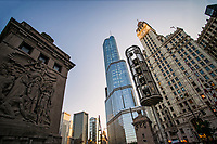 Wrigley Building & Trump Tower from DuSable Bridge, Michigan Avenue