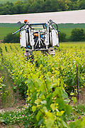 A vineyard tractor that can be used for spraying and for mechanical weed removal in the vineyard driving between the rows of vines at the experimental vineyard of the CIVC at Plumecoq near Chouilly in the Cote des Blancs It is used for testing clones soil treatment vine treatments spraying, Champagne, Marne, Ardennes, France