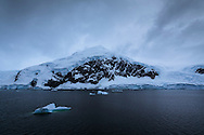 Selenium toned (digitally) image of first Antarctic mainland reached by many cruise ships to the Antarctic Peninsula - Neko Harbour