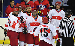 Cape Town 180420 Semiz Serdar of Turkey celebrates his goal against  China Taipei in their game of Ice Hokey world championship held at Grand West Casino.photograph:Phando Jikelo/African News Agency/ANA