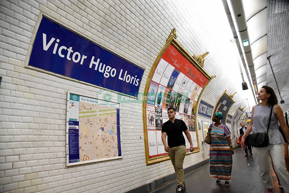 The station Victor Hugo on line 2 no longer honours the famous French author but the goalkeeper of the French national national team. The name has been changed to Victor Hugo Lloris. Paris transport authorities RATP have decided to hail the victorious Les Bleus in their own way. After the cup final win workers were busy putting up new names of Metro stations in honour of France's victory. Some six stations have been given new names, although it is not clear how long they will last, with some of them honouring the players and the manager behind the stunning victory. Paris, France, July 17, 2018. Photo by Alain Apaydin/ABACAPRESS.COM