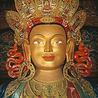 Sculpture of Maitreya, the Future Buddha at monastery near Leh.