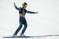 Timi Zajc (SLO) celebrates during the 1st Round of the Ski Flying Hill Individual Competition at Day 2 of FIS Ski Jumping World Cup Final 2019, on March 22, 2019 in Planica, Slovenia. Photo by Vid Ponikvar / Sportida