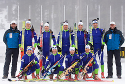 Tomas Kos, Vid Voncina, Tadeja Brankovic Likozar, Peter Dokl, Andreja Mali, Janez Maric, Dijana Grudicek Ravnikar, Klemen Bauer, Teja Gregorin, Vasja Rupnik and Uros Velepec of Slovenian biathlon team before new season 2009/2010,  on November 16, 2009, in Pokljuka, Slovenia.   (Photo by Vid Ponikvar / Sportida)