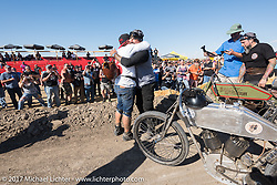 After the Sons of Speed banked dirt oval racing at the Full Throttle Saloon during the annual Sturgis Black Hills Motorcycle Rally. Sturgis, SD. USA. Thursday August 10, 2017. Photography ©2017 Michael Lichter.
