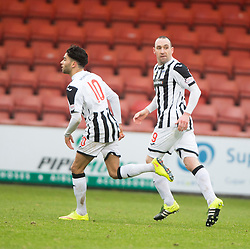 Dunfermline's Michael Moffat cele scoring their first goal from the penalty spot. <br /> half time : Dunfermline 1 v 2 Ayr United, Scottish League One played at East End Park, 13/2/2016.