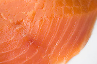 Still life of sustainably raised, cold smoked salmon.