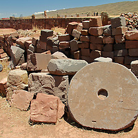 South America, Bolivia, Tiwanaku. Carved round stone door of Pre-Columbian archaeological site of Tiwanaku, a UNESCO World Heritage Site.