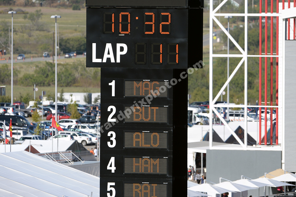 Result of free practice 1 after 32 minutes with Kevin Magnussen leading McLaren-Mercedes team-mate Jenson Button at the 2014 United States Grand Prix at the Circuit of the Americas in Austin. Photo: Grand Prix Photo