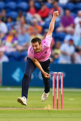Toby Roland-Jones in action<br /> <br /> Photographer Craig Thomas/Replay Images<br /> <br /> Vitality Blast T20 - Round 4 - Glamorgan v Middlesex - Friday 26th July 2019 - Sophia Gardens - Cardiff<br /> <br /> World Copyright © Replay Images . All rights reserved. info@replayimages.co.uk - http://replayimages.co.uk