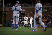 San Francisco Giants right fielder Hunter Pence (8) stands on first base after a hit against the Los Angeles Dodgers at AT&T Park in San Francisco, California, on April 24, 2017. (Stan Olszewski/Special to S.F. Examiner)