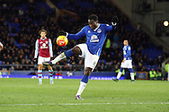 Romelu Lukaku of Everton looks to shoot at goal. Barclays Premier League match, Everton v Aston Villa at Goodison Park in Liverpool on Saturday 21st November 2015.<br /> pic by Chris Stading, Andrew Orchard sports photography.