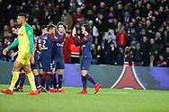 Edinson Roberto Paulo Cavani Gomez (psg) (El Matador) (El Botija) (Florestan) sccored the first goal, celebration with Thiago Silva (PSG), Adrien Rabiot (psg), Yuri Berchiche (PSG), Angel Di Maria (psg), Neymar da Silva Santos Junior - Neymar Jr (PSG) during the French Championship Ligue 1 football match between Paris Saint-Germain and FC Nantes on November 18, 2017 at Parc des Princes stadium in Paris, France - Photo Stephane Allaman / ProSportsImages / DPPI