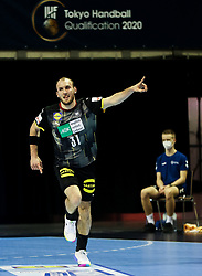 Marcel Schiller of Germany celebrates during handball match between National Teams of Germany and Slovenia at Day 2 of IHF Men's Tokyo Olympic  Qualification tournament, on March 13, 2021 in Max-Schmeling-Halle, Berlin, Germany. Photo by Vid Ponikvar / Sportida