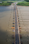 Demerara Harbour Bridge <br /> crossing the Demerara River. The bridge is the longest floating pontoon bridge in the world.<br /> Georgetown<br /> GUYANA<br /> South America