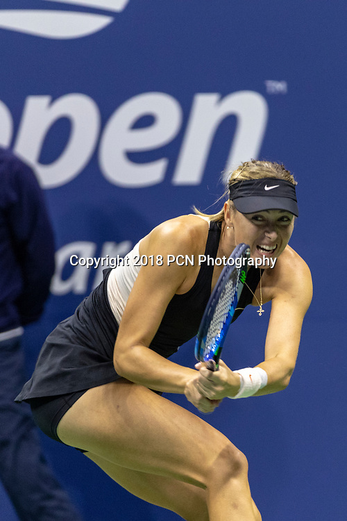 Maria Sharapova (RUS) competing at the 2018 US Open Tennis.