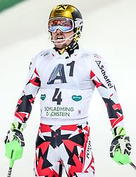 26.01.2016, Planai, Schladming, AUT, FIS Weltcup Ski Alpin, Schladming, Slalom, Herren, 2. Durchgang, im Bild Marcel Hirscher (AUT) // Marcel Hirscher of Austria reacts after his 2nd run of men's Slalom Race of Schladming FIS Ski Alpine World Cup at th Planai in Schladming, Austria on 2016/01/26. EXPA Pictures © 2016, PhotoCredit: EXPA/ Johann Groder